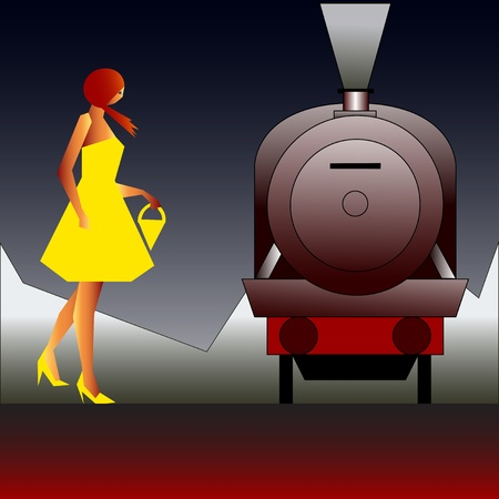 Vintage Rail Travel, background with an art deco style Steam Locomotive and girl in a yellow dress Vector