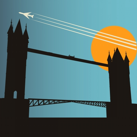thames: London City Break, background with Tower Bridge at sunset under a high flying jet Illustration