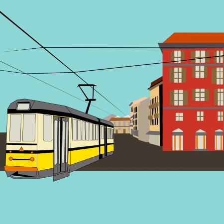 retail therapy: City Break, background with a tram and old high street for a tourism or shopping holiday  Illustration