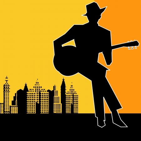 jazz club: Big city  Blues Guitar Concert, Poster or Flyer for an Acoustic Gig Illustration