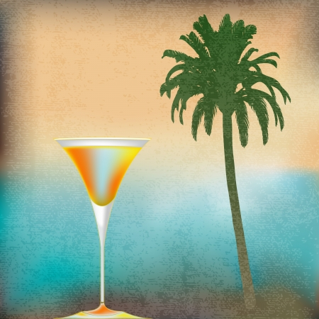 topical: Tropical Isle Cocktails, template for an exotic drinks menu Illustration