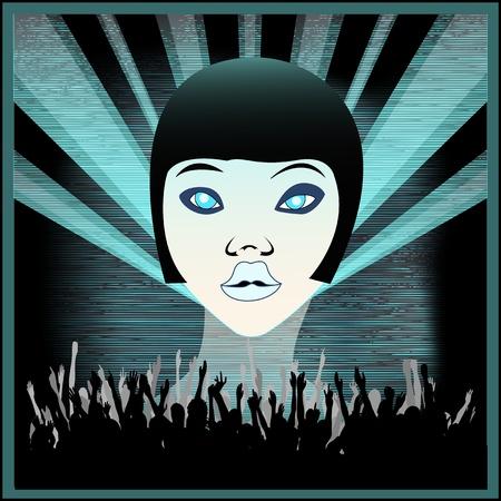 indie: Ice Girl, Flyer para una Indie Club o DJ Set, ilustraci�n vectorial fondo