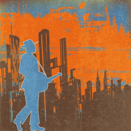 gig: Big city  Blues Guitar Concert, Vector Poster or Flyer for an Acoustic Gig Illustration