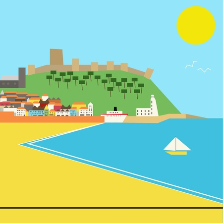 Seaside town vector landscape in a deco style, based upon Scarborough, UK Vector
