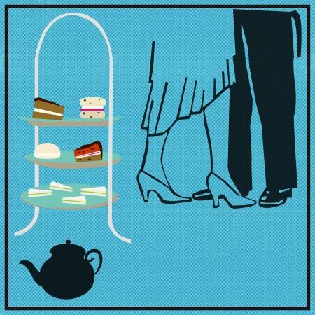 afternoon: Tea Dance, de vectores de fondo para una fiesta de t� de la tarde, con una tarta, de pie y bailarines de �poca