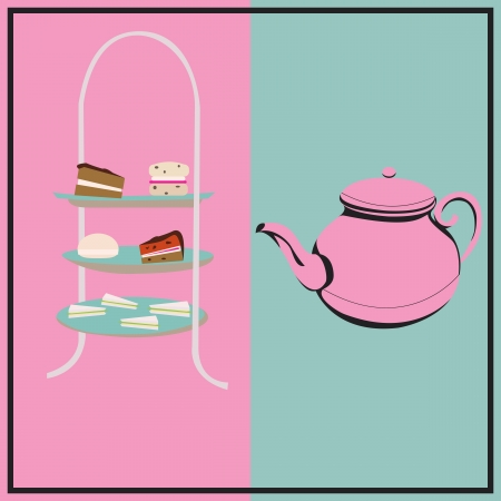 cakestand: Afternoon Tea, vector retro background with a cake-stand and a teapot for a tea-party