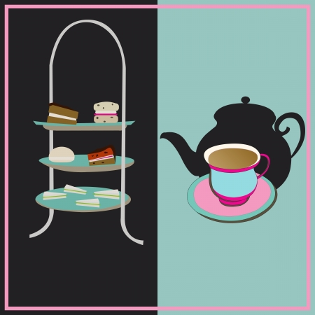 cooking time: Afternoon Tea, vector retro background with a cake-stand and a teacup for a vintage tea-party Illustration