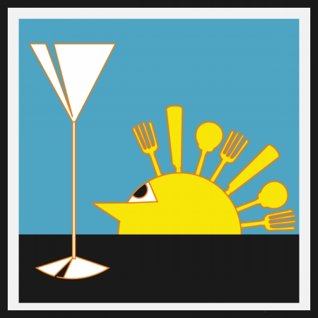 Sundowners Aperitifs, Vector background with a Deco style sun with cutlery rays and a cocktail glass Vector