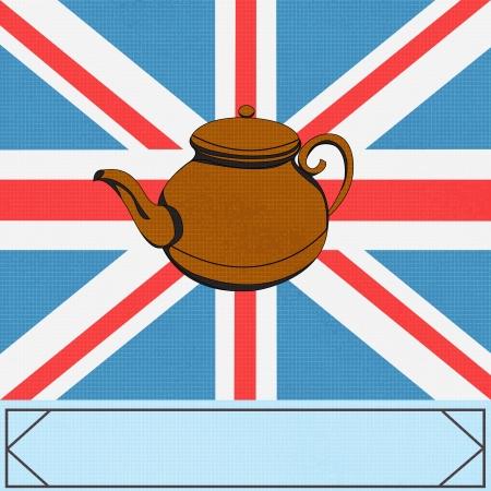 jack pot: El Great British Tea Pot, vector de fondo con ateapot en un Reino Unido Union Jack Vectores