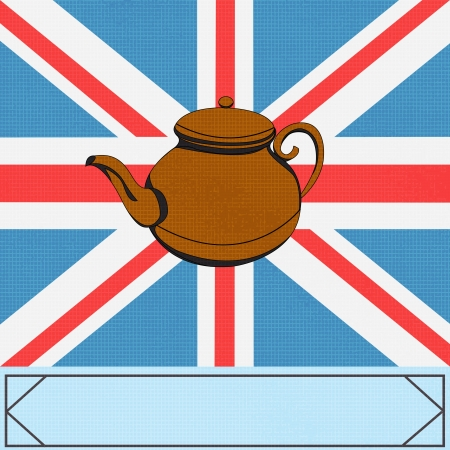 The Great British Tea Pot, vector background with ateapot over a UK Union Jack Vector