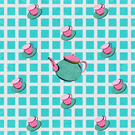 teatime: Teatime, Vector Background with a teapot and teacups Illustration