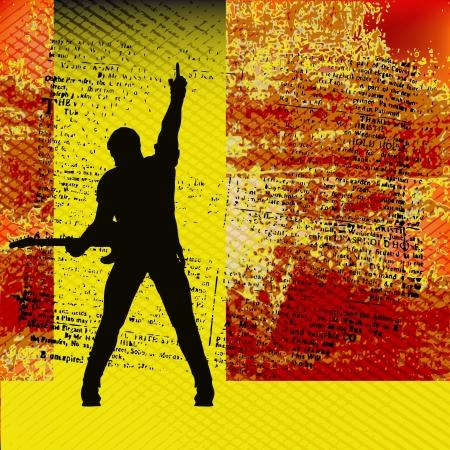 guitariste: Guide Gig, illustration de fond pour Concerts � base de guitare et de musique Illustration