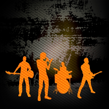 gig: Guitar Group, Illustration with a Rock Band against grunge wall background Illustration
