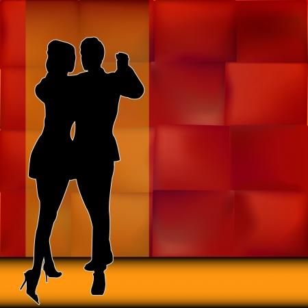 baile latino: Rumba, Ilustración de fondo con un par de bailarines realizan una danza de salón de baile de América Latina