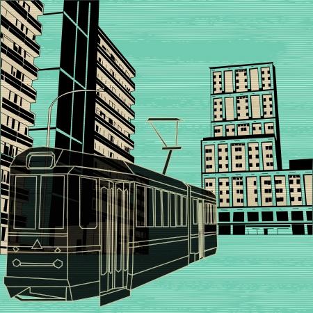 high flier: Public Transport, background illustration with a tram and street scene Illustration