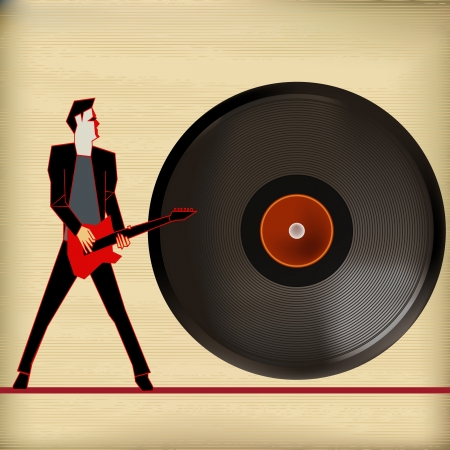 Vinyl Flyer,  Background Illustration for Guitar Based Concerts and Music Stock Vector - 19603056