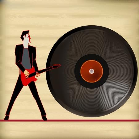 flyer background: Vinyl Flyer, achtergrond afbeelding voor Guitar Based Concerten en Muziek Stock Illustratie