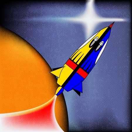 comicbook: Retro Space Rocket, background with a comic-book spaceship Illustration