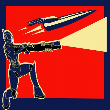 blaster: Rocket Power, Retro  label with an armoured marine and a space ship Illustration