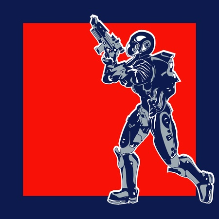 Retro Space Label,  background with an armoured marine in a comic book style Vector