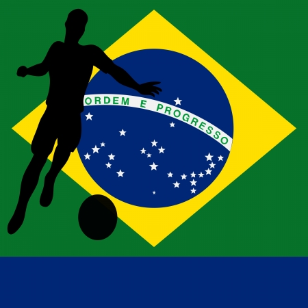 Brazil 2014, Brazilian flag vector illustration for an international football   soccer championship Vector