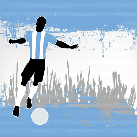 grunged: Football Argentina, Vector Soccer player over a grunged Argentinian Flag and cheering crowd