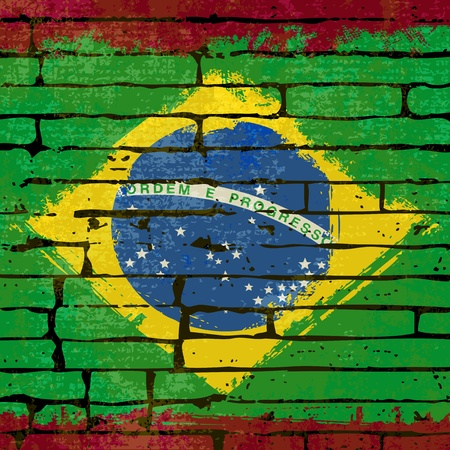 Grunged Brazilian Flag over a brick wall  background  illustration