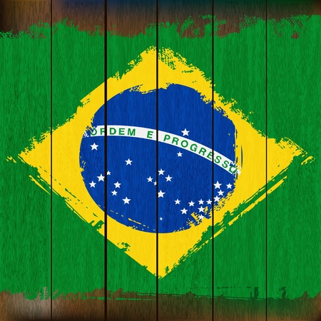 grunged: Grunged Brazilian Flag over a wooden plank  background  illustration