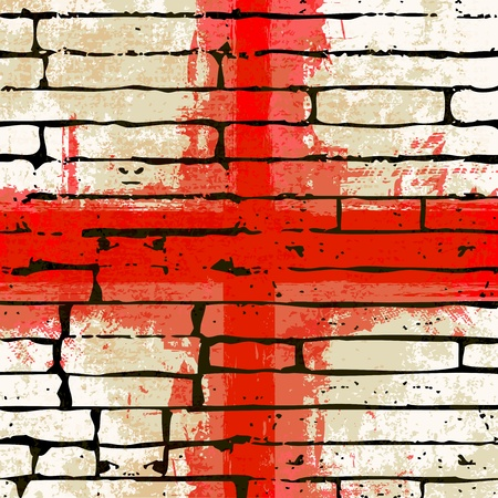 grunged: Grunged English Cross of Saint George Flag over a brick wall  background  illustration Illustration
