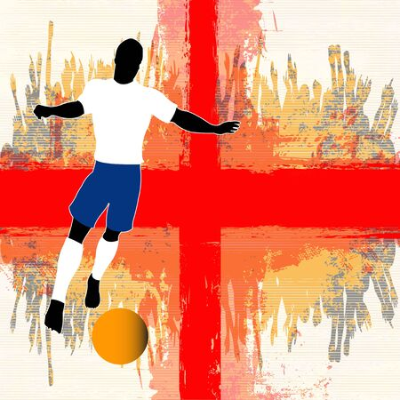 grunged: Football England, Vector Soccer player over a grunged English Flag and cheering crowd Illustration