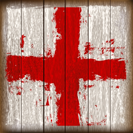 george: Grunged English Cross of Saint George Flag over a wooden plank  background  illustration
