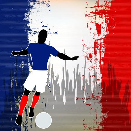 grunged: Football France, Vector Soccer player over a grunged French Flag and cheering crowd Illustration