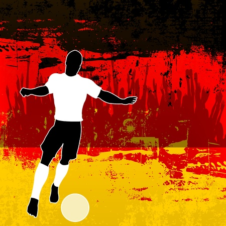 grunged: Football Germany, Vector Soccer player over a grunged German Flag and cheering crowd
