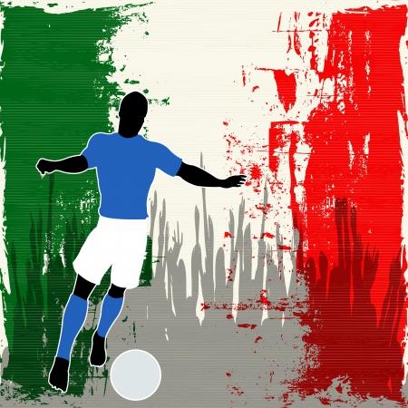 bandera italiana: Fútbol Italia, Vector Jugador de fútbol durante un indicador italiano grunged y multitud de espectadores