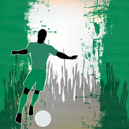 grunged: Football Nigeria, Vector Soccer player over a grunged Nigerian Flag and cheering crowd Illustration