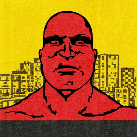 Red Head, vector illustration of an an angry bald headed man in an urban environment Vector