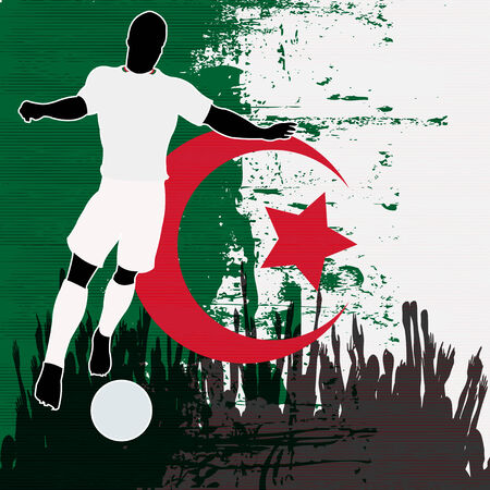grunged: Football Algeria, Vector Soccer player over a grunged Algerian Flag and cheering crowd Illustration