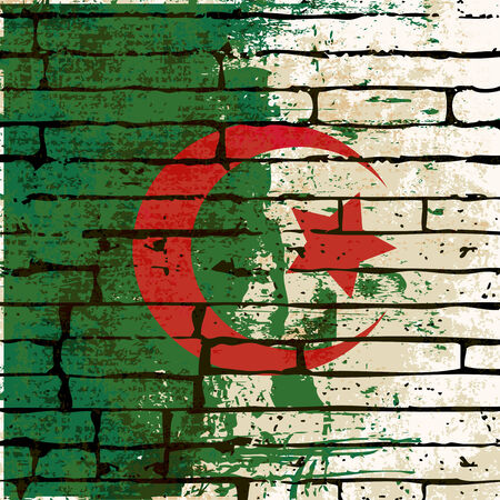 grunged: Grunged Algerian Flag over a brick wall  background  illustration