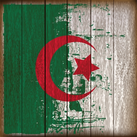 cresent: Grunged Algerian Flag over a wooden plank  background  illustration Illustration