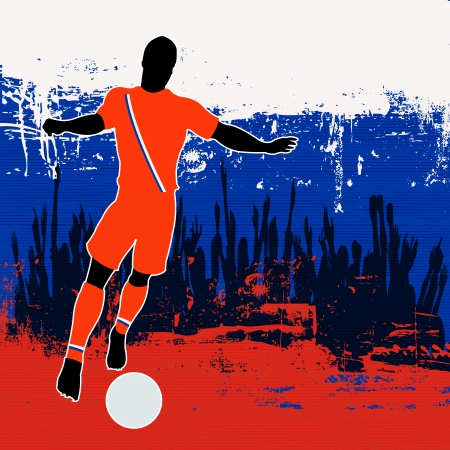 grunged: Football Russia, Vector Soccer player over a grunged Russian Flag and cheering crowd