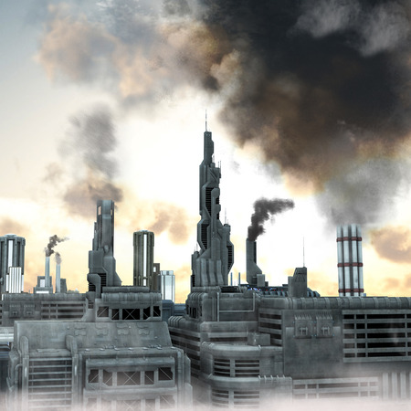 Industrial City, 3D render of a polluted future belshing smoke into the  sky