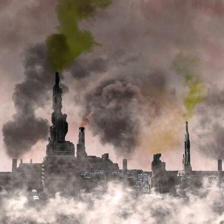 polluted: Industrial City, 3D render of a polluted future