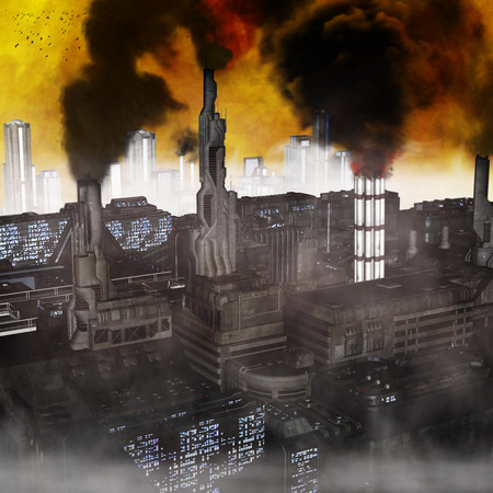 Industrial City, 3D render of a polluted future photo