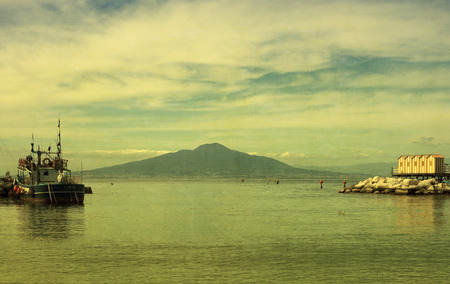 pompeii: Mount Vesuvius and the Bay of Naples Italy with a green tinged vintage texture filter