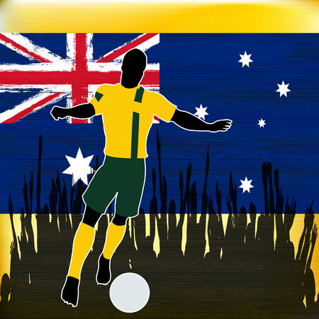 footbal: Footbal Australia, Vector Soccer player over a grunged Australian Flag and cheering crowd Illustration