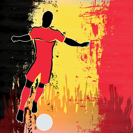 europian: Football Belgium, Vector Soccer player over a grunged Belgian Flag and cheering crowd