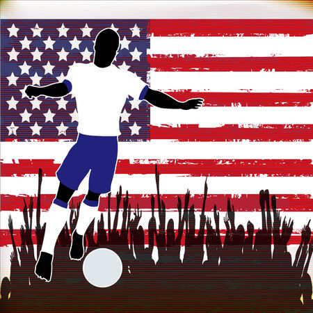 Football USA, Vector Soccer player over a grunged United States of America Flag and cheering crowd Illustration