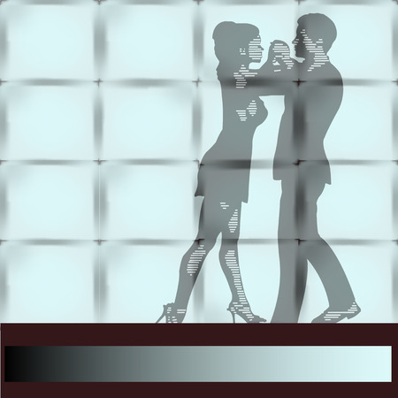 salsa dancer: Dance Studio, a couple Ballrom Dancing seen through a large wall window Illustration