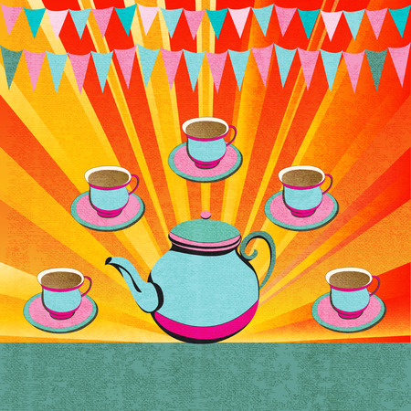 retro party: Afternoon Tea, retro flyer for a party or cafe