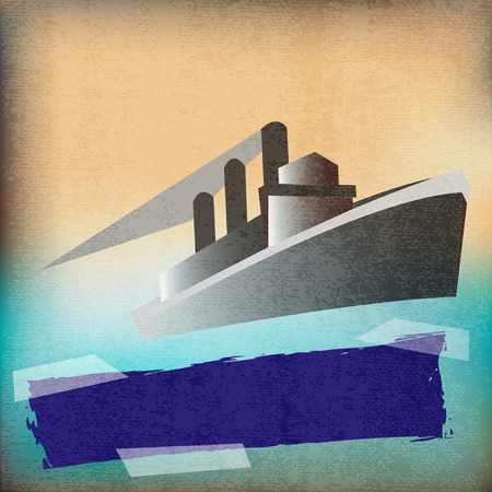cruise liner: Deco style vintage poster for a Cruise Liner